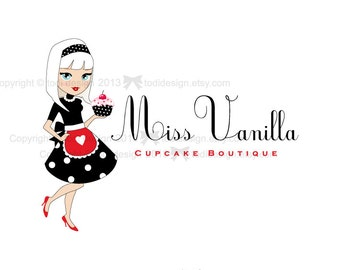 OOAK Character illustrated Premade Miss Vanilla Logo design - Will not be resold