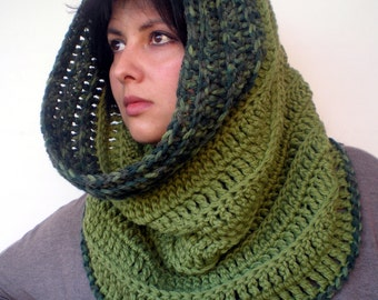 Olive Green Rib High Fashion Cowl  Soft mixed Wool Neckwarmer Woman/Men  Original   Cowl NEW