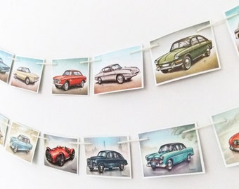 Fifties Cars Bunting, Wall Hanging, Recycled Banner. Travel garland. Office Decor, Vintage Cars Pennants - Cars Banner