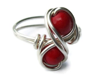 Red Infinity Ring - Silver Wedding Jewelry or Causal wear - Custom Size - Christmas in July - CIJ - Christmasinjuly