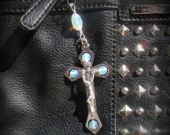 Crucifix Purse Charms - Zipper Pulls -  Rosary Place Markers - Crucifix Sun Catchers