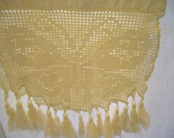 Vintage Linen-Table Runner-White Cotton with Crochet and Tassel Ends