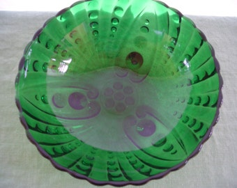 Vintage Green Glass Serving Bowl Burple Green Footed Bowl