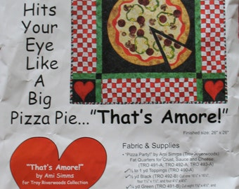"""Out of Print-QUILT KIT, pattern by Ami Simms; That's Amore"""" pizza wallhanging, 26"""" x 26""""; contains fabric and supplies; 2003 design"""