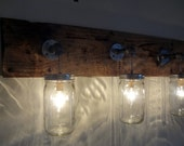 Mason Jar 3 Light Hanging Fixture Rustic Shabby Chic Reclaimed Barn Wood Primitive Handmade Upcycled Barnwood