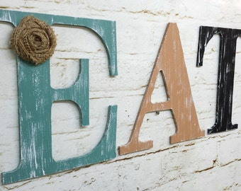 Rustic Chic Wooden Letter EAT Kitchen Home Decor Wall Hanging Personalized Custom Farmhouse Cottage Burlap Flower Sign Photo Prop Gift