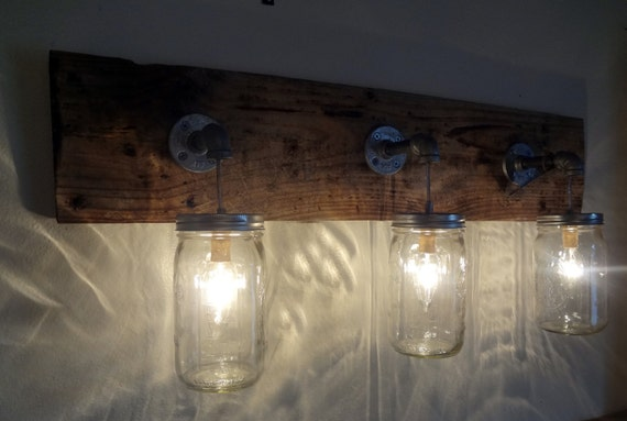 Vanity Light Wood Metal With Punched Tin Lamp Shades: Mason Jar Hanging Light Fixture Rustic Reclaimed Barn Wood