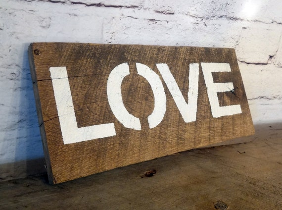 Items Similar To Rustic Shabby Chic Barn Wood Sign / LOVE