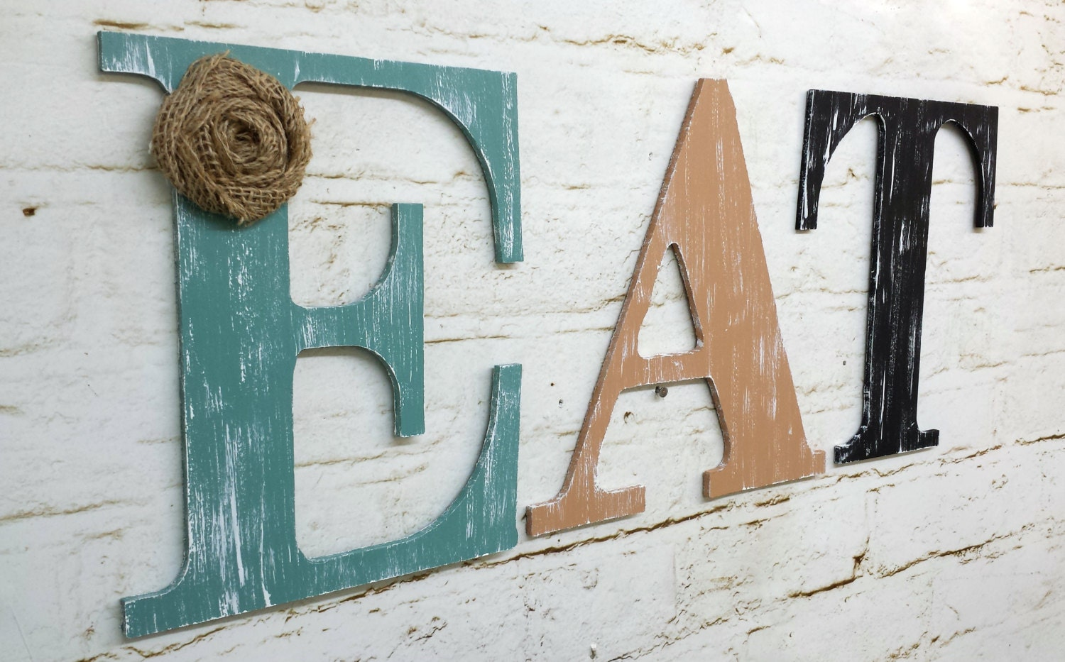 Rustic chic wooden letter eat kitchen home decor wall hanging for Kitchen letters decoration