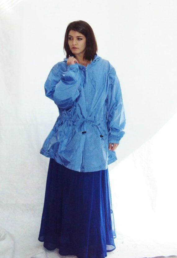 Sky Blue parka /  Anorak Jacket / Drawstring / s - xl