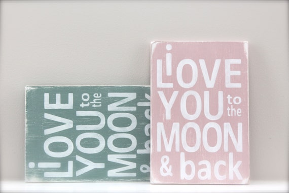 i love you to the moon and back wall art wood sign custom. Black Bedroom Furniture Sets. Home Design Ideas
