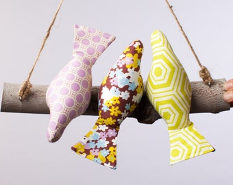 Threes a Crowd Bird Swing, Bird Mobile in pastel Purple, Green and Blue Prints