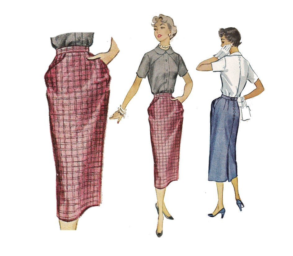 50s skirt pattern vintage pencil skirt sewing pattern angled