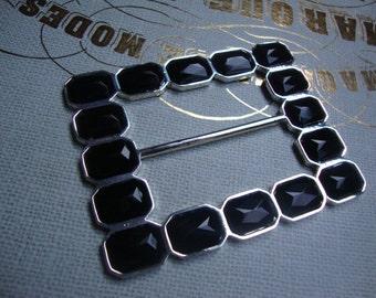 Black Acrylic Rhinestone Silver Tone Metal Buckles Jewelry Holiday Accessories Vintage Jewelry Belt Buckle Victorian Style Jewelry OC