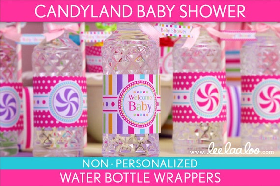candyland baby shower water bottle wrappers bonus straw flags