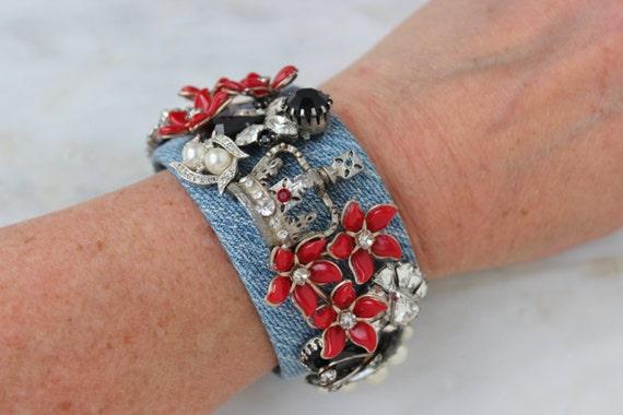 Rhinestone - Crown - Royal - Pearl Red Black Cuff Bracelet One Of A Kind Denim
