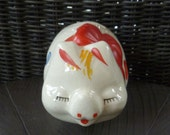 Piggy Bank. American Bisque Pottery Pig Figurine. Vintage 1940s. Polka Dots & Bow. Primary Colors. Coin Bank. Cottage Kitchen Nursery Decor.
