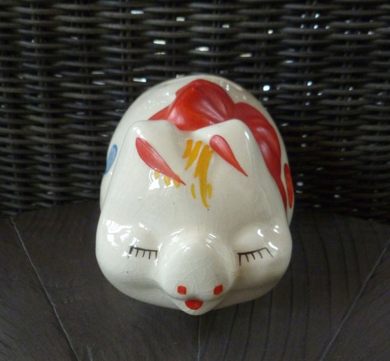 Piggy Bank American Bisque Pottery Pig Figurine Vintage