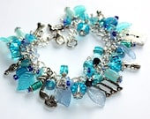 Charm Bracelet in Blue - I love music. Gift idea for someone who loves music, singer, or player. Tibetan silver and adorable crystals