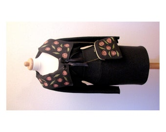 Elegant slate grey, boucle woolen  bolero and bag with roses