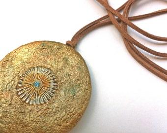 Champagne Gold Modern Necklace, Boho chic big bold chunky necklace
