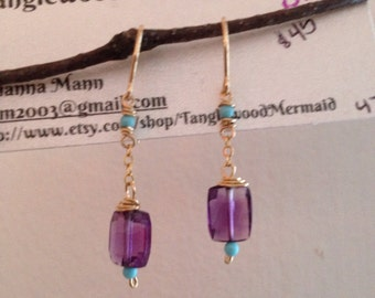 Amethyst, turquoise and gold-filled dangle earrings