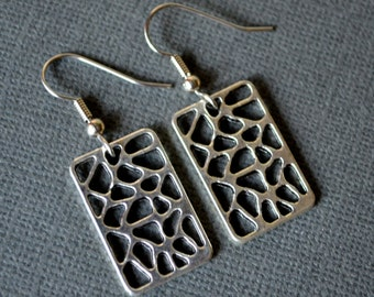 Silver Rectangular Charms . Earrings