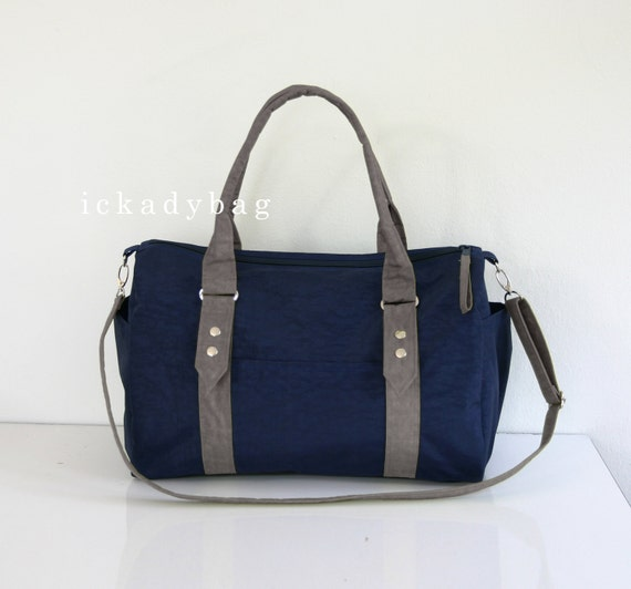 Navy blue Messenger Bag with Gray Trim  Diaper Bag  Travel, Handbag ...