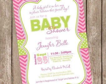 A baby girl is on her way baby shower invitation, pink, green, stripe, chevron, printable invitation