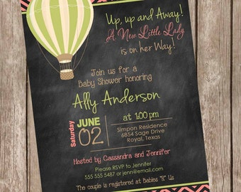 Chalkboard Hot Air Balloon Baby Shower Invitation, up up and away, chevron baby shower invitation, coral and green, printable,