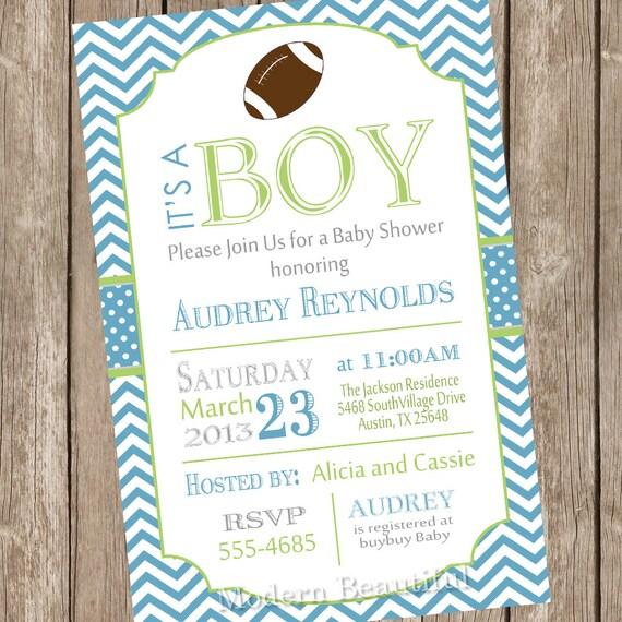 chevron football baby shower invitation football green blue