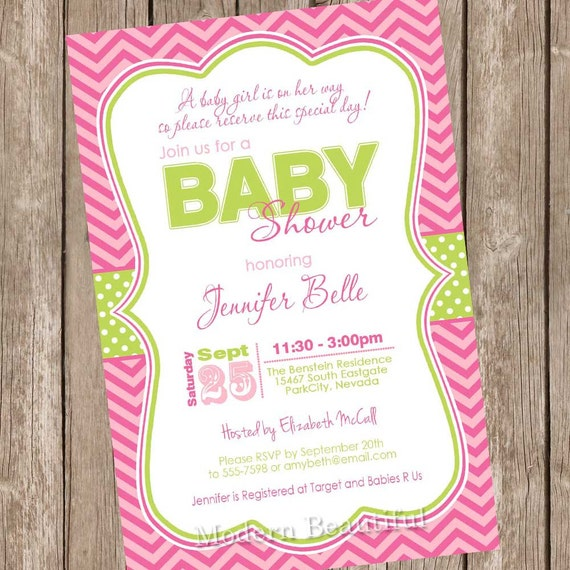 A baby girl is on her way baby shower invitation, pink ...