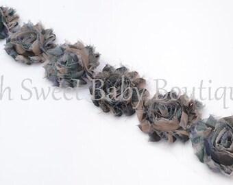 Camo Shabby Chiffon Flower QTY 6