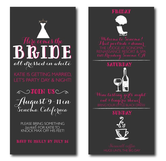 Bachelorette Invitations with Itinerary - Wine Tasting Tour and Weekend