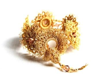 Gold Metallic Cuff Bracelet Tatting Lace Beaded