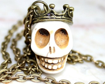 Day of the Dead Skull Necklace Dia de los Muertos Traditional King Crown White Atlanta Jewelry