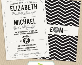 Chevron Wedding Invitation Double Sided Printable 5x7 Vintage Typographic Poster - Subway Poster