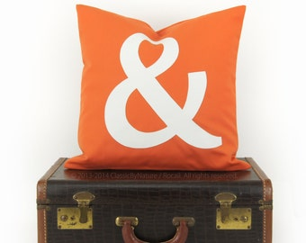 SALE || Monogrammed Pillow Case in Orange & White, Ampersand Outdoor Pillow, Lowercase Letter | Patio Decor - 16x16 Decorative Cushion Cover