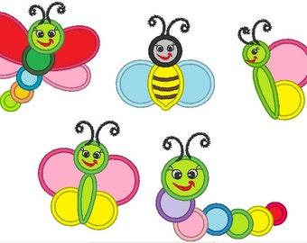 Simple Pretty Bugs - machine embroidery appliqué designs, 5 various - 4x4, 5x7, 6x10