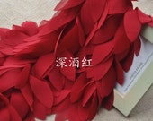 Wine Red Chiffon Leaves Lace Trim 1 Yard 2.36 Inches Wide