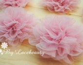 Pink Chiffon Tulle Flower Peony Flower Bridal Sash For Headwear Decor Fashion Costume 2pcs