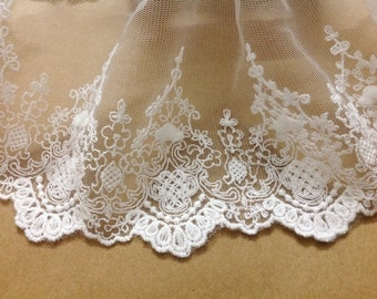 Cream White Tulle Lace Trim Retro Embroidered Tulle Lace 7 Inches Wide 2 yards