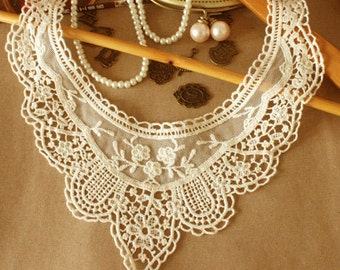 Off White Tulle Lace Collar Cotton Venice Lace Embroidered Appliques Collar 1 Pcs