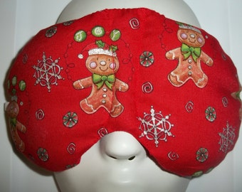 Herbal Hot/Cold Therapy Sleep Mask with adjustable and removable strap Gingerbread Man with Snowflakes