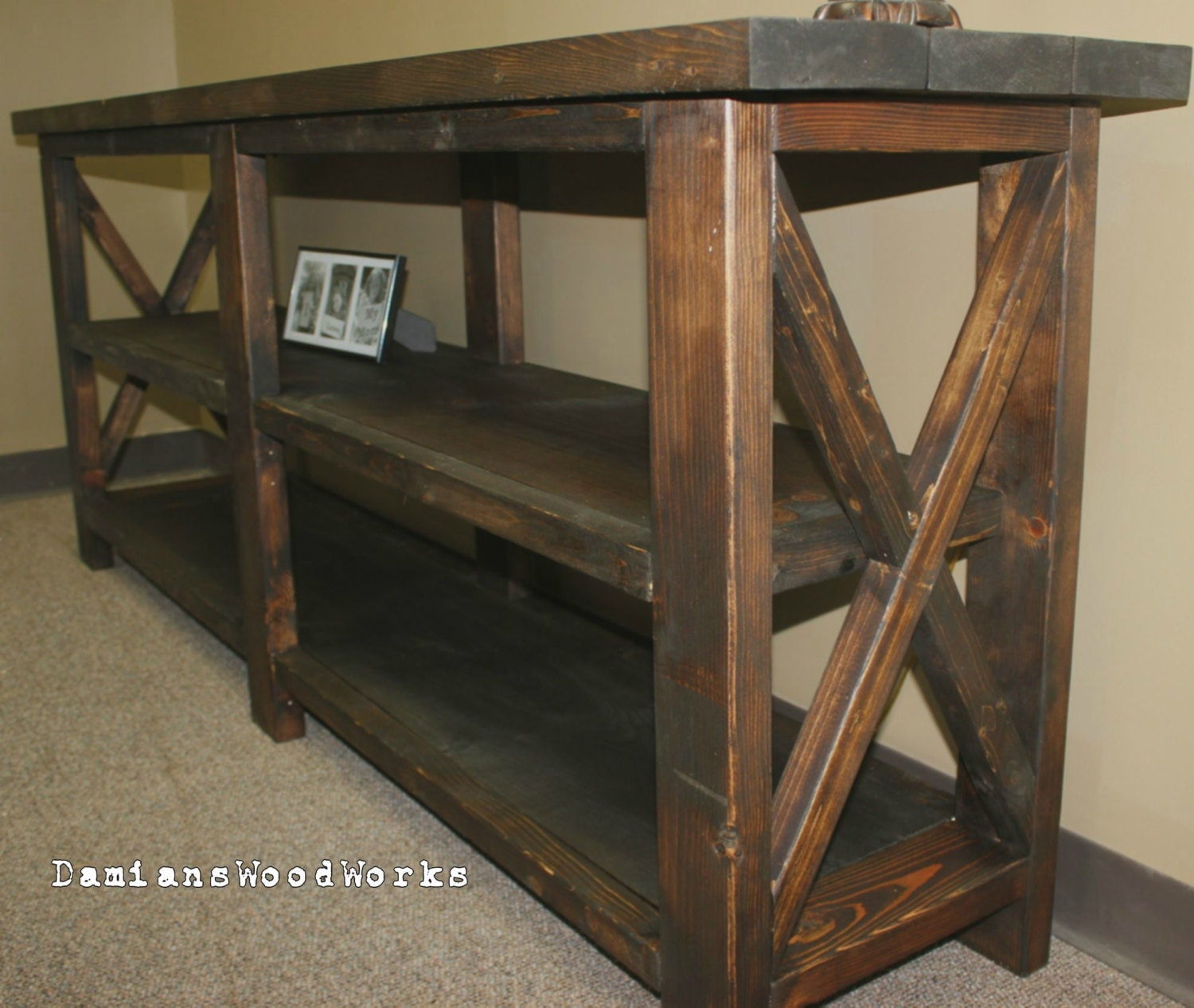 Very Impressive portraiture of Handcrafted Farmhouse Console / Sofa Table by DamiansWoodWorks with #8C673F color and 1500x1266 pixels