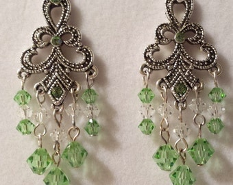 "Crystal ""Peridot"" Chandelier Earrings"