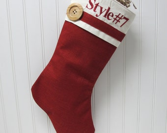 Red burlap stocking - Style #7