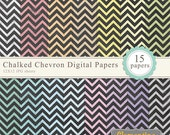chalked chevron digital paper 12x12, digital scrapbooking paper, royalty free commercial use- Instant Download