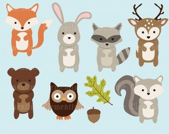 Woodland Animals clip art images,  fox clip art, fox vector, royalty free clip art- Instant Download