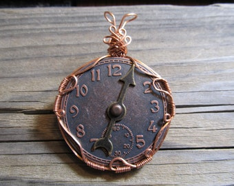 Wire Wrapped Pendant Steampunk Clock Face in Antiqued Copper - One of a Kind - Wirewrapped Wire-Wrapped